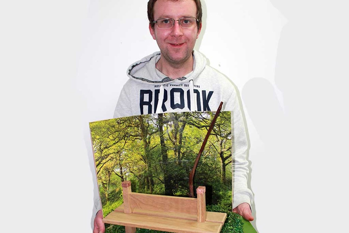 Man holding bench design