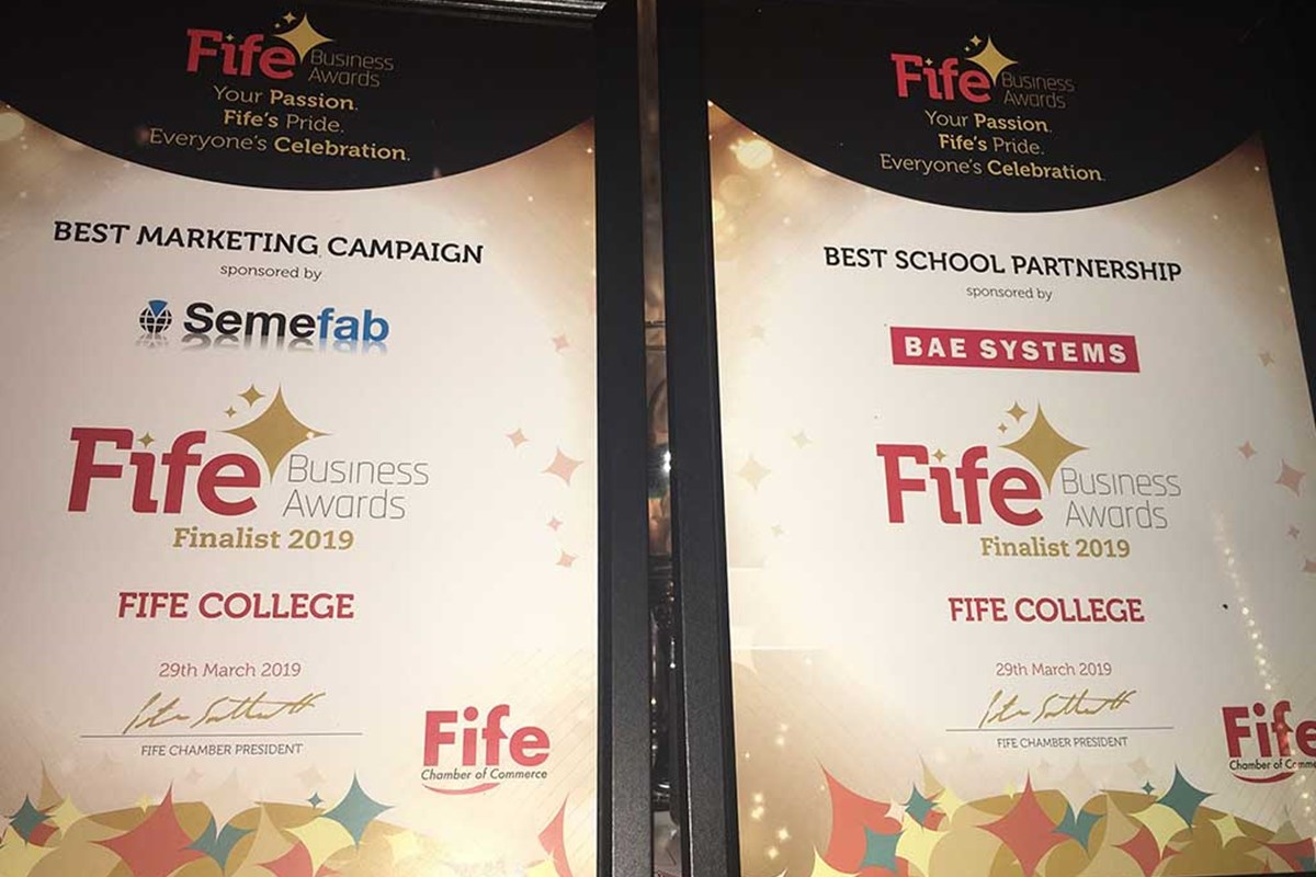 Fife College Finalists at Fife Chamber Awards