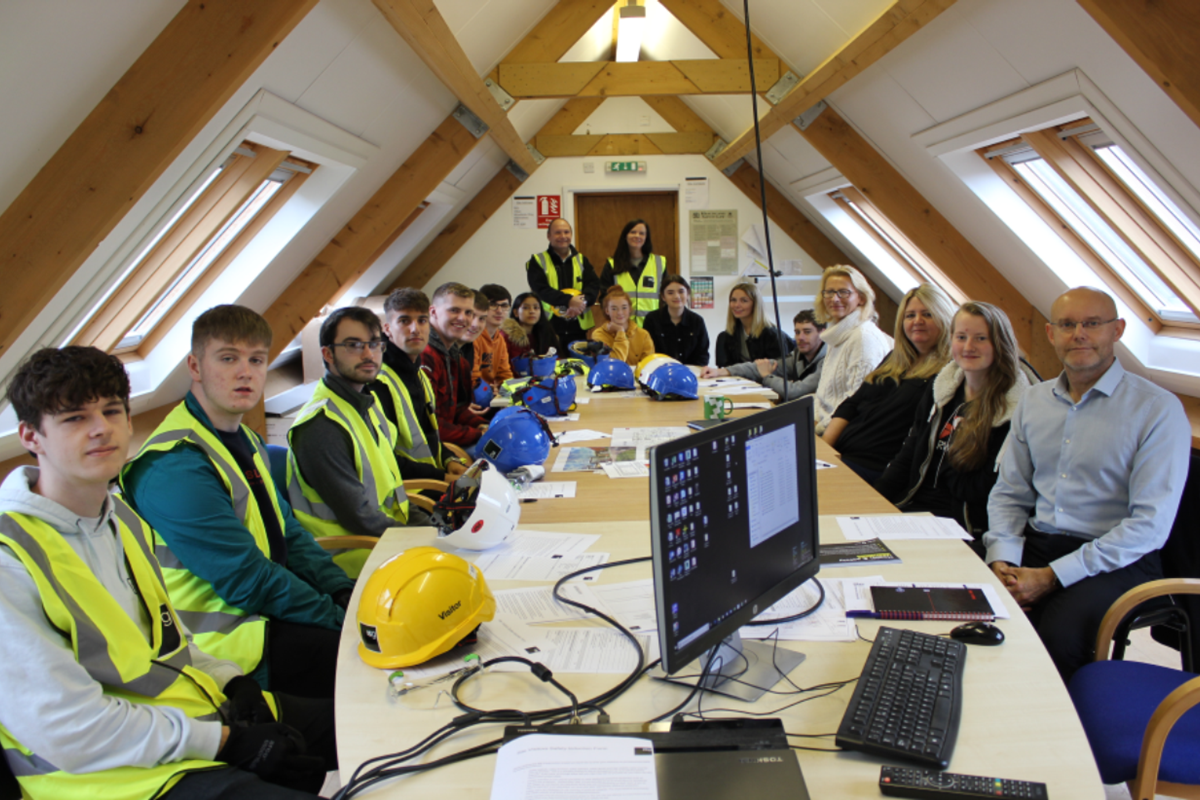 Built Environment students check out construction of Velux's expanded Headquarters in Glenrothes