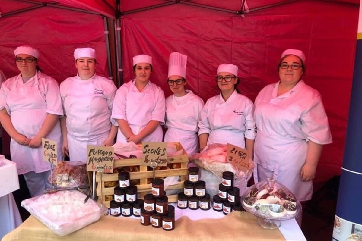 Students at Kirkcaldy market launch