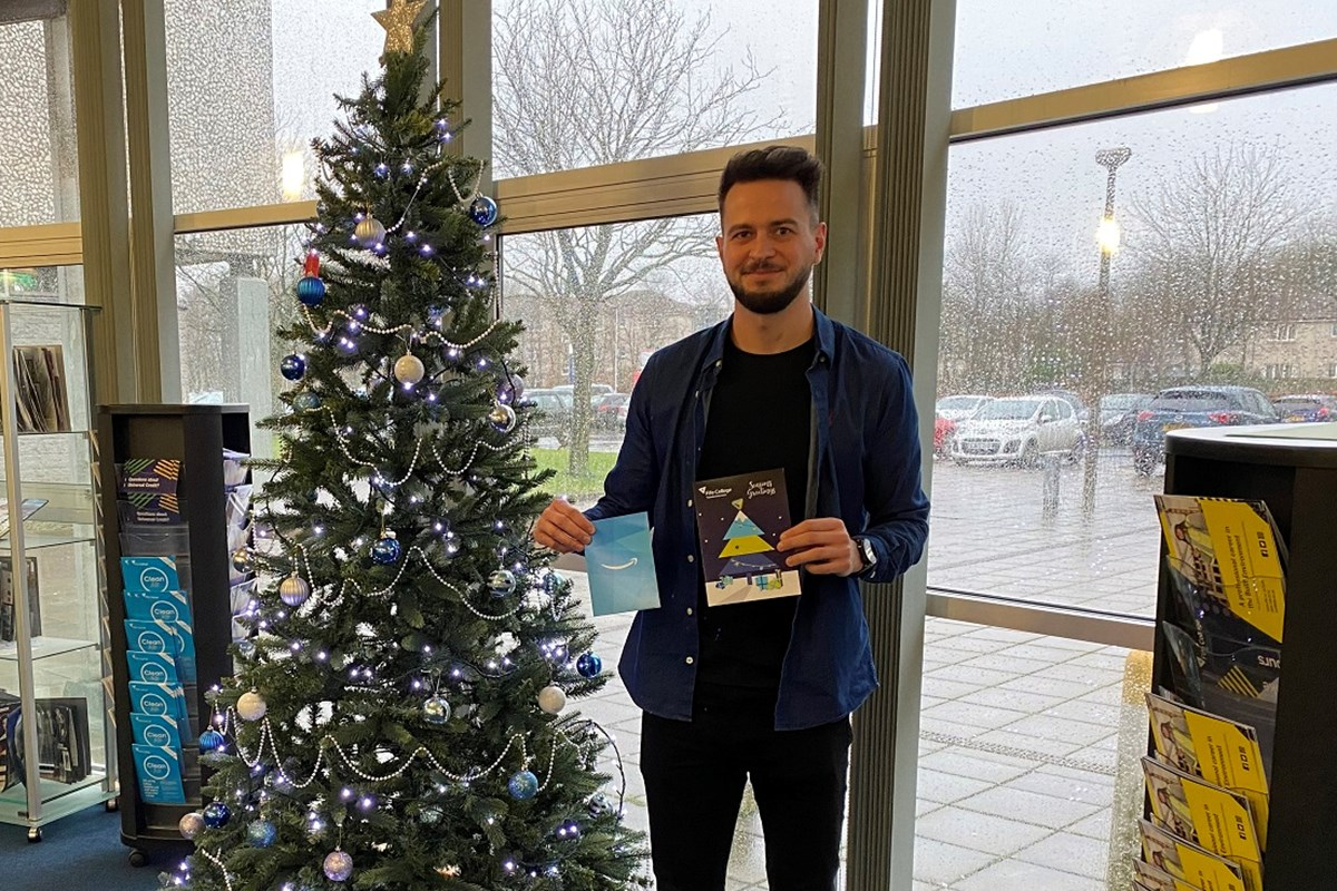 Visual Communications student Gary designs College's Christmas card